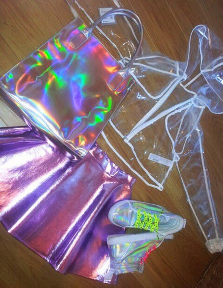 see through holographic skirt transparent coat style atropina pale lips,bag,transparent clutch,neon,pink,purple,handbag holographic shoes holographic, backpack, bag, holographic bag holographic skirt jacket bag