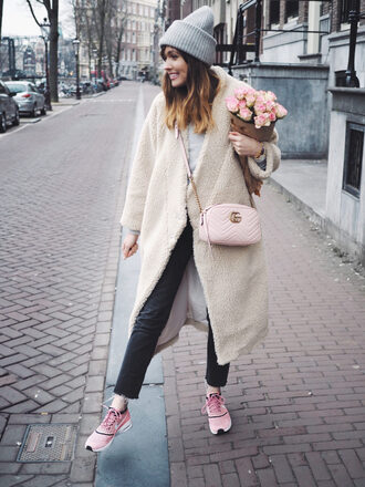 a dash of fash blogger shoes coat bag shirt hat jeans beanie winter outfits gucci bag sneakers