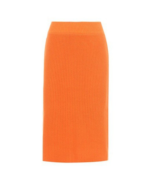 Calvin Klein 205W39NYC Knitted cotton skirt in orange