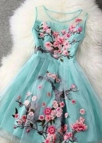 dress blue dress cherry blossom girl cherry blossom
