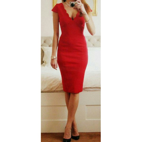 dress red dress scalloped edges valentine's day pencil dress