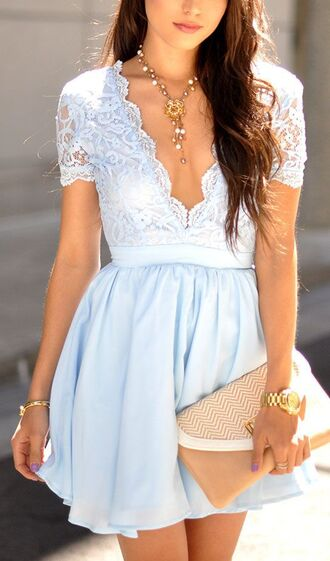 dress short light blue v neck sexy