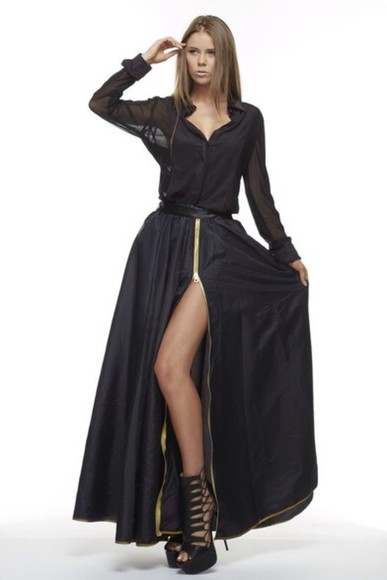 black slit skirt skirt maxi skirt