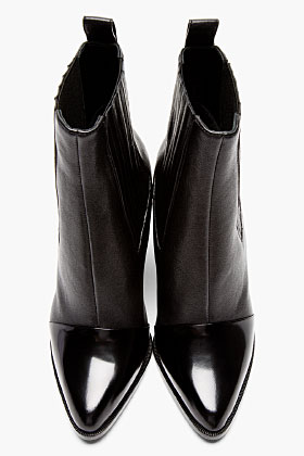 Kenzo Black Leather Paris Texas Kara Boots for women | SSENSE
