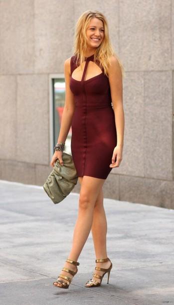 dress blake lively blake lively dress serena van der woodsen burgundy dress