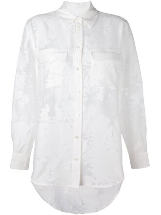 shirt sheer jacquard white top