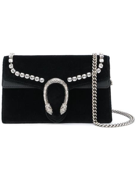 women bag shoulder bag leather black velvet