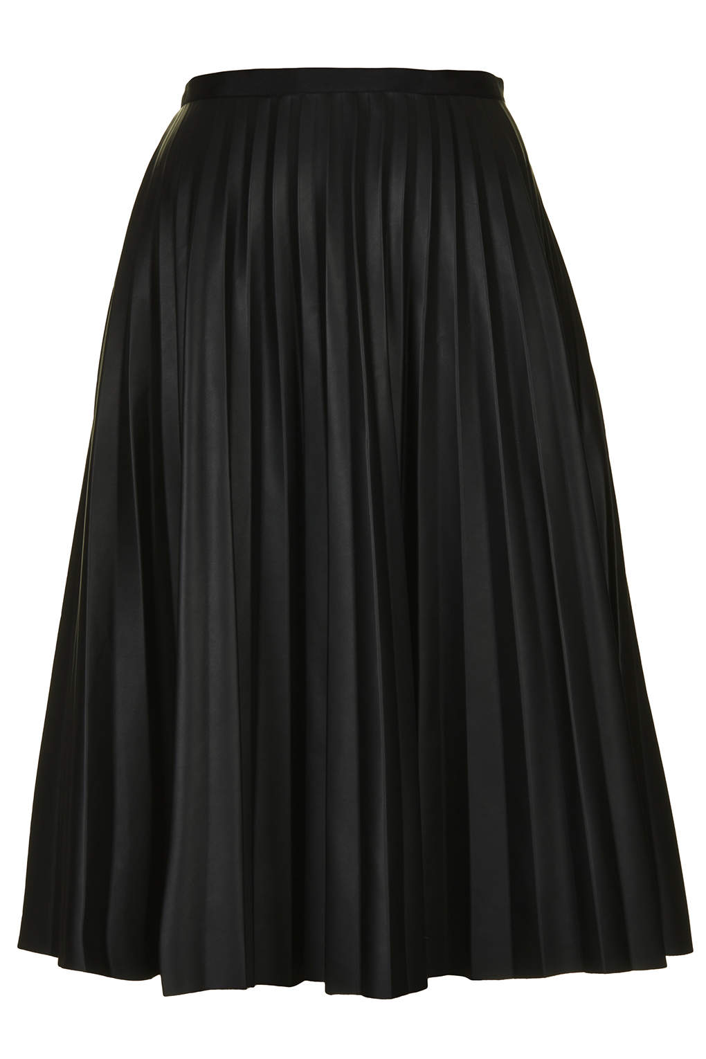 Pu black pleated midi skirt