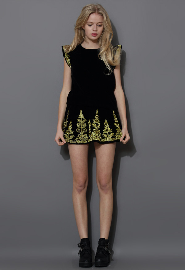 dress gold embroidered velbet top and skirt set black