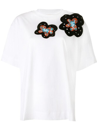 t-shirt shirt embroidered women spandex white cotton top