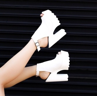 shoes white heels high heels