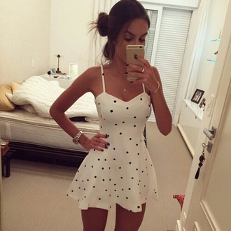 white dress polka dots sweetheart dress sweetheart neckline mini dress cute dress bun dress white black short girly strappy sundress casual