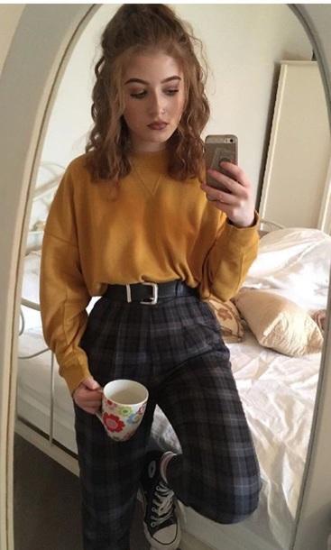 blouse plaid pants yellow long sleeve long sleeves high waisted pants