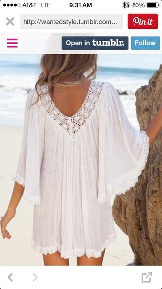 dress white boho lace