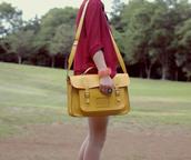 tiny toad stool,satchel,yellow bag,bag