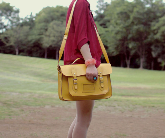 tiny toad stool satchel yellow bag