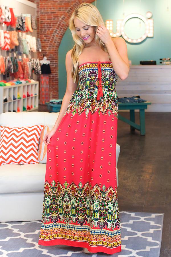 Paisley Print Maxi Dress   uoionline.com: Women's Clothing Boutique