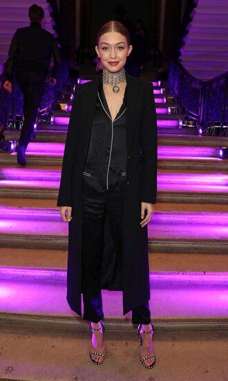 pants blouse coat gigi hadid choker necklace model off-duty sandals black jumpsuit jumpsuit pajamas shoes