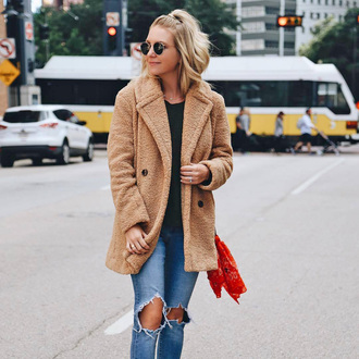 coat tumblr teddy bear coat fuzzy coat camel camel coat denim jeans blue jeans ripped jeans sunglasses