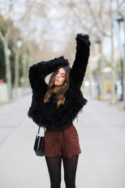 dulceida blogger shorts suede brown fuzzy sweater black sweater fluffy winter outfits suede shorts brown shorts tights fury sweater black bag shoulder bag