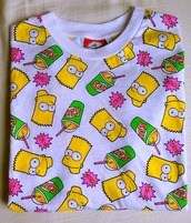 shirt,bart simpson,the simpsons,grunge,punk,hipster,colorful,aliexpress,ebay,seapunk,t-shirt,blouse,sweater,neon,yellow,wow,top,graphic tee