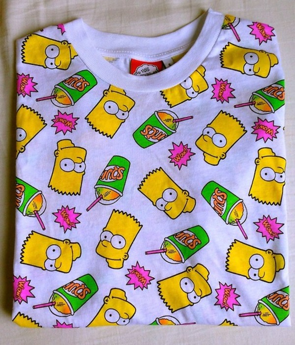 shirt bart simpson the simpsons grunge punk hipster colorful aliexpress ebay seapunk t-shirt print trendy top sweet blouse pink white yellow lovely crop tops sweater neon wow graphic tee the simpsons tumblr shirt