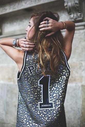 tank top jersey paris leopard print basketball jersey gold silver black