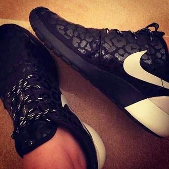 shoes leopard print nike black black nike