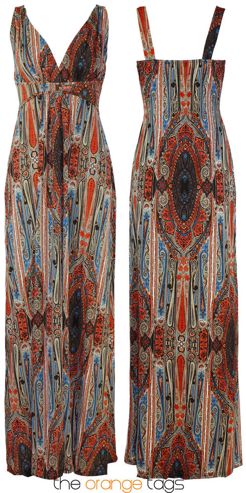 LADIES LONG PAISLEY PRINT CASUAL GRECIAN MAXI WOMENS SUMMER DRESS 8-16 | eBay
