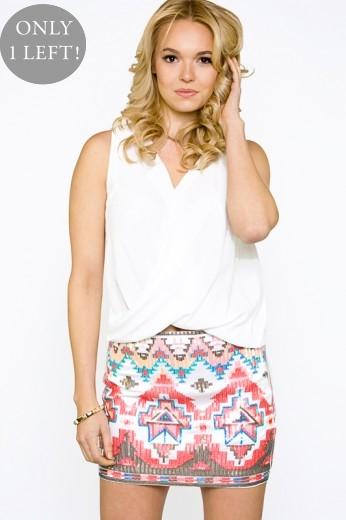 Coral Aztec Sequin Skirt- $56