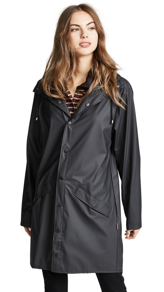 Rains Long Rain Jacket in black