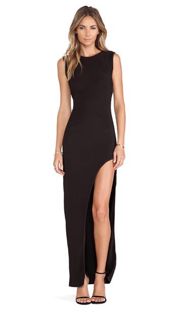dress black dress lovers and friends maxi dress high slit dress black maxi dress revolve clothing prom dress