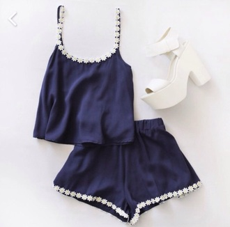 shorts navy two-piece daisy white wedges summer cute girly