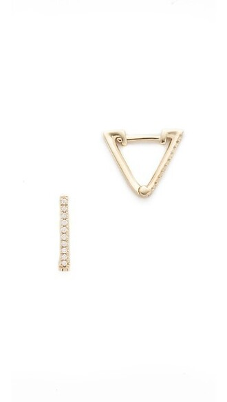 triangle clear earrings gold jewels