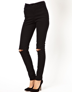 ASOS | ASOS High Waisted Skinny Pants with Ripped Knee at ASOS