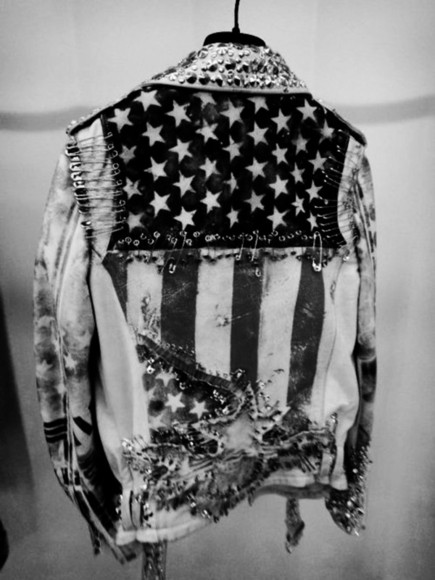 jacket american flag jean jackets denim spikes denim vintage levis
