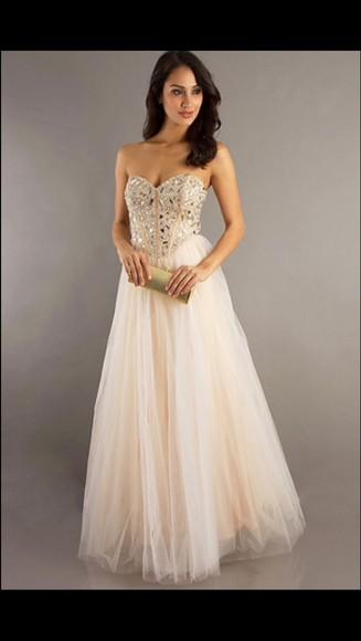 beige dress long prom dress sequin dress