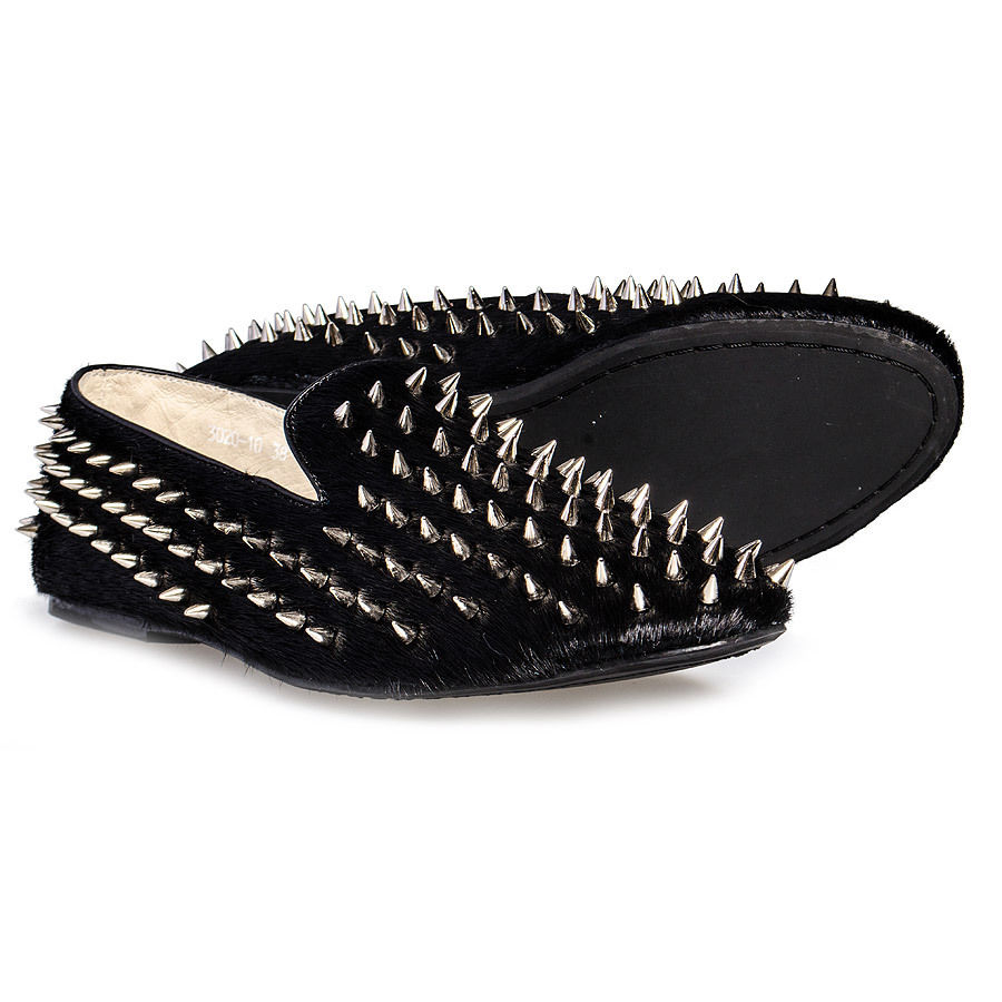 blue banana footwear black spiked slip on shoes new