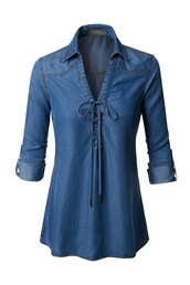 blouse,chambray,denim,tencel,denim shirt,tie shirt,lace up,roll tab sleeves