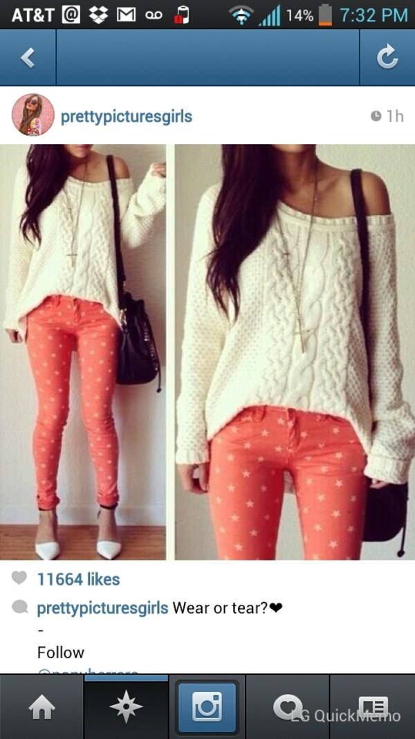 jeans pink coral stars rose printed pants