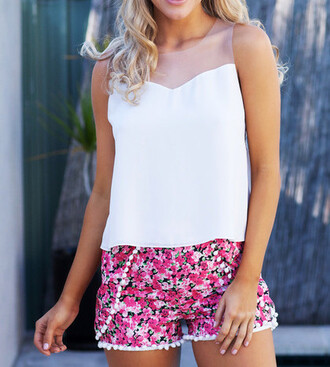 shorts red outfit cute floral shorts floral pink summer outfits pom pom shorts