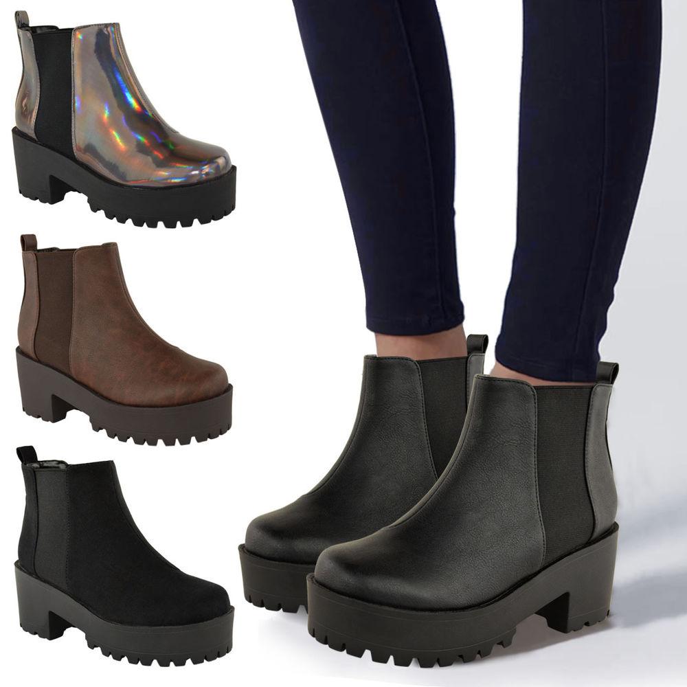 Womens Platform Block Heel Shoes