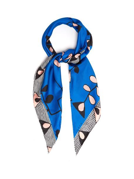MARNI scarf silk scarf print silk blue