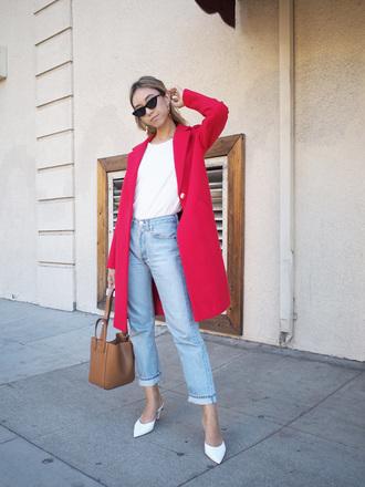 coat white shoes cat eye tumblr red coat top white top denim jeans blue jeans shoes bag brown bag sunglasses