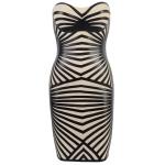 Clothing : Bandage Dresses : 'Aysha' Black Leatherette & Bandage Strapless Dress