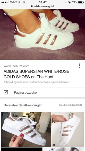 shoes gold adidas superstars rose gold summer summer shoes cute classy sneakers 2016 sporty sportswear adidas adidas superstars adidas shoes adidas originals white white shoes rose gold white sneakers metallic metallic shoes sports shoes