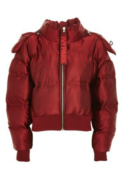 Topshop jacket puffer jacket cropped rust