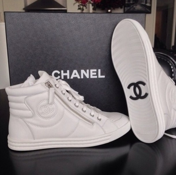 shoes jewels white chanel sneakers chanel sneakers blouse white shorts hightops shoes high top sneakers white sneakers