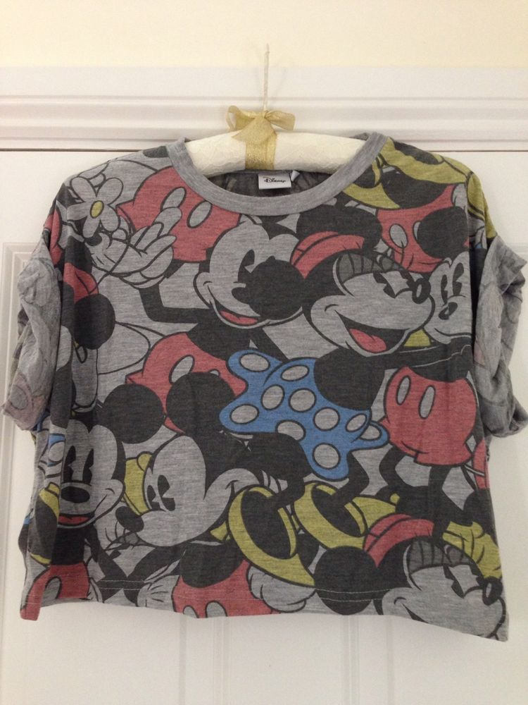 Mickey/miney mouse tshirt cropped ladies size 14