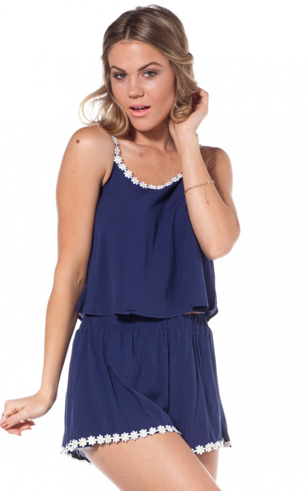Daisy chain two piece set in navy